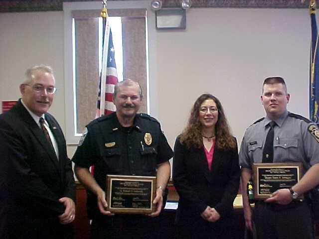 Officers receive the 2009 Venango County DUI Top Gun Awards